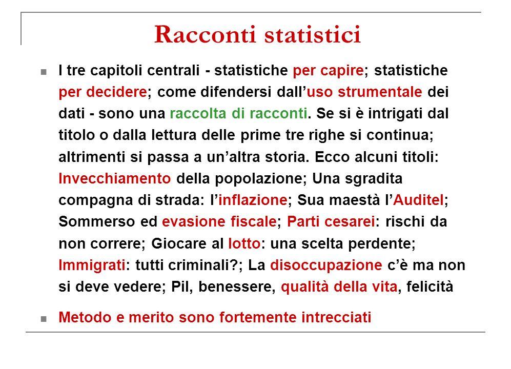 Racconti statistici I tre capitoli centrali - statistiche per capire; statistiche per decidere; come difendersi dalluso strumentale dei dati - sono una raccolta di racconti.