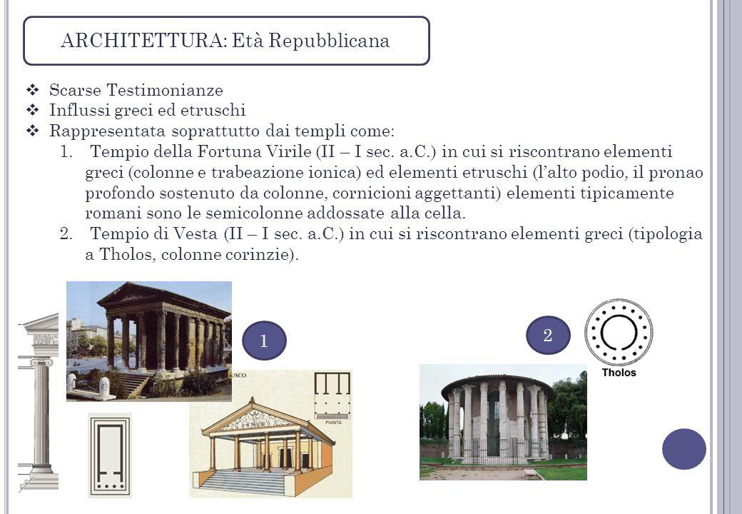 ARCHITETTURA: Età Repubblicana Scarse Testimonianze Influssi greci ed etruschi Rappresentata soprattutto dai templi come: 1. Tempio della Fortuna Viri