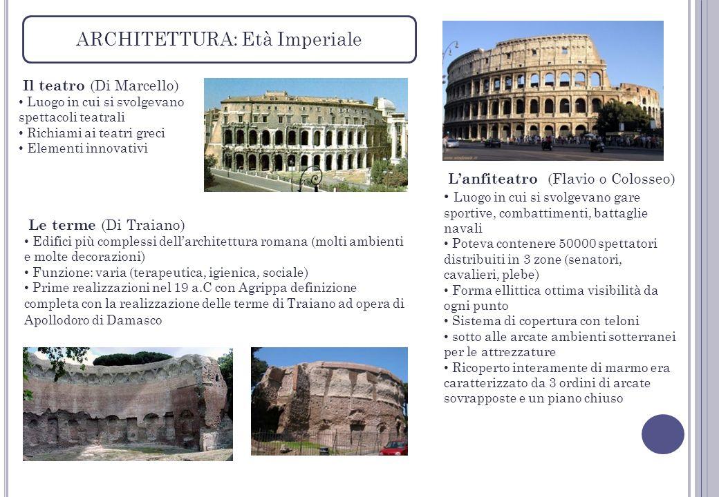 ARCHITETTURA: Età Imperiale Il teatro (Di Marcello) Luogo in cui si svolgevano spettacoli teatrali Richiami ai teatri greci Elementi innovativi Lanfit