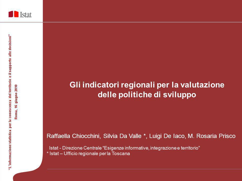Raffaella Chiocchini, Silvia Da Valle *, Luigi De Iaco, M. Rosaria Prisco Istat - Direzione Centrale Esigenze informative, integrazione e territorio *