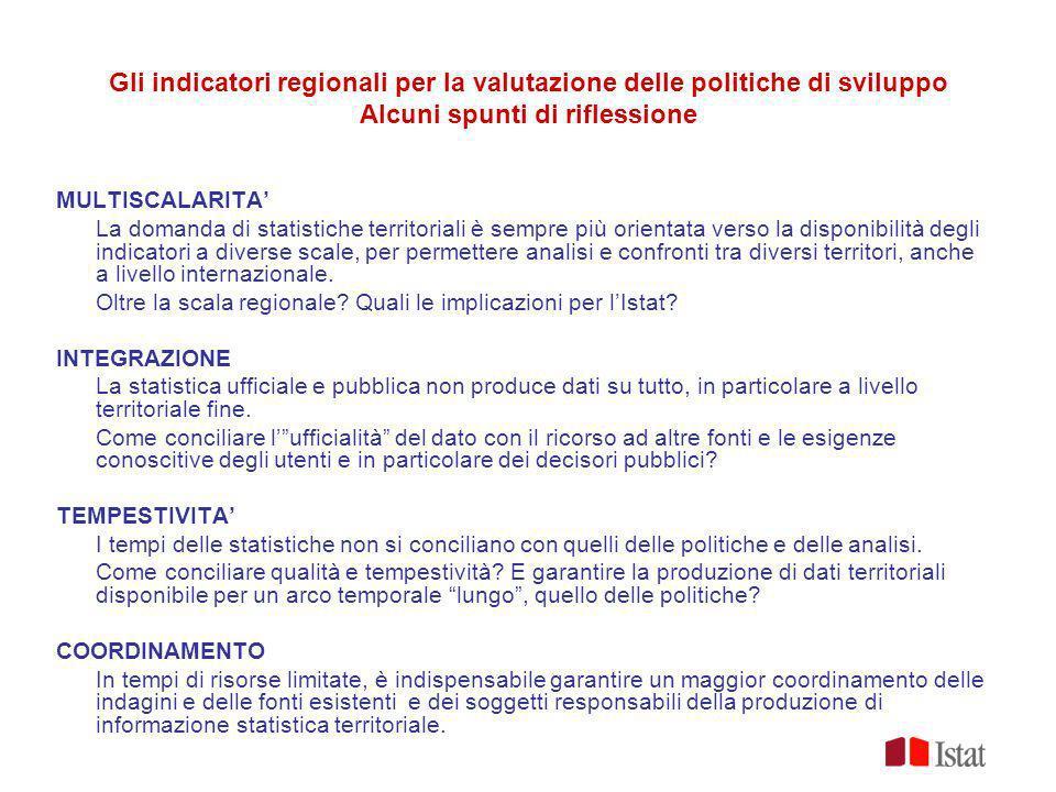 Gli indicatori regionali per la valutazione delle politiche di sviluppo Alcuni spunti di riflessione MULTISCALARITA La domanda di statistiche territor