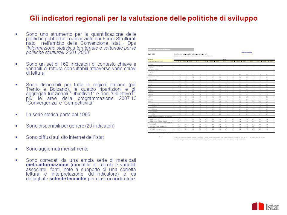 Gli indicatori regionali per la valutazione delle politiche di sviluppo Sono uno strumento per la quantificazione delle politiche pubbliche co-finanzi