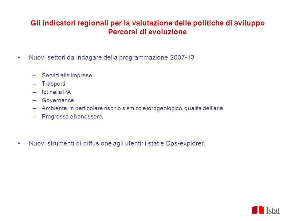 Gli indicatori regionali per la valutazione delle politiche di sviluppo Percorsi di evoluzione Nuovi settori da indagare della programmazione 2007-13