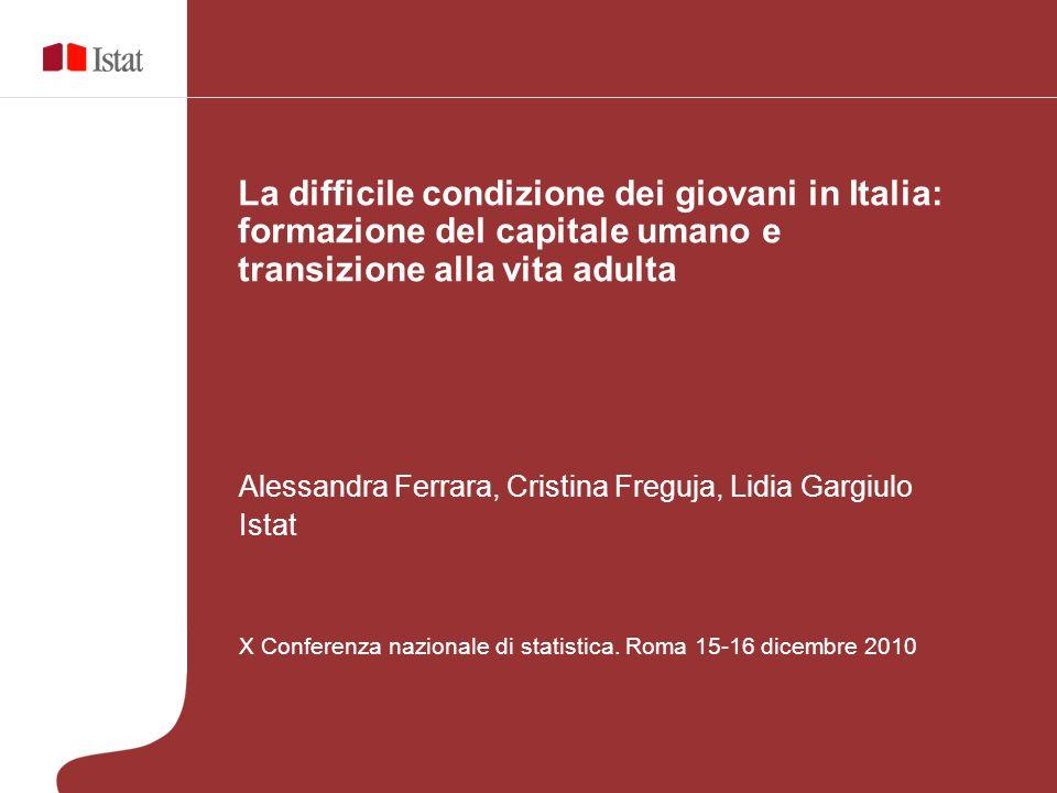 X Conferenza nazionale di statistica La difficile condizione dei giovani in Italia: formazione del capitale umano e transizione alla vita adulta GRAZIE PER LA VOSTRA ATTENZIONE!