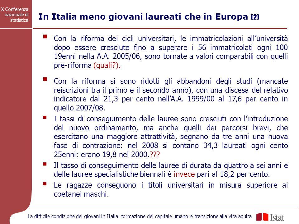 X Conferenza nazionale di statistica La difficile condizione dei giovani in Italia: formazione del capitale umano e transizione alla vita adulta Con l
