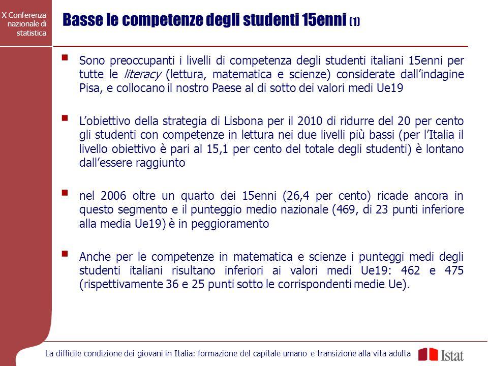X Conferenza nazionale di statistica La difficile condizione dei giovani in Italia: formazione del capitale umano e transizione alla vita adulta Sono
