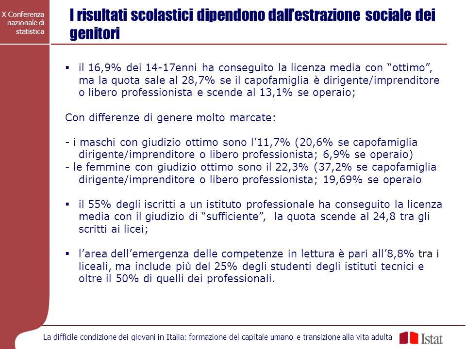X Conferenza nazionale di statistica La difficile condizione dei giovani in Italia: formazione del capitale umano e transizione alla vita adulta I ris