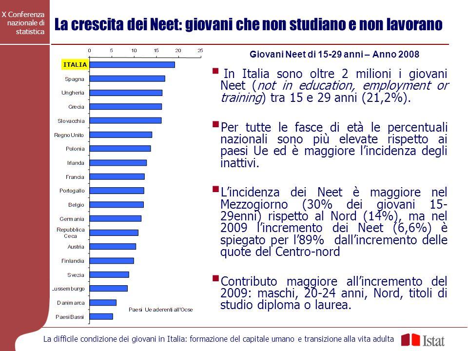 X Conferenza nazionale di statistica La difficile condizione dei giovani in Italia: formazione del capitale umano e transizione alla vita adulta La cr