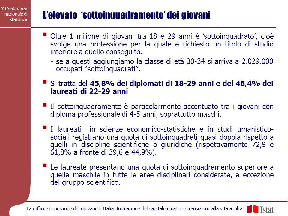 X Conferenza nazionale di statistica La difficile condizione dei giovani in Italia: formazione del capitale umano e transizione alla vita adulta Lelev