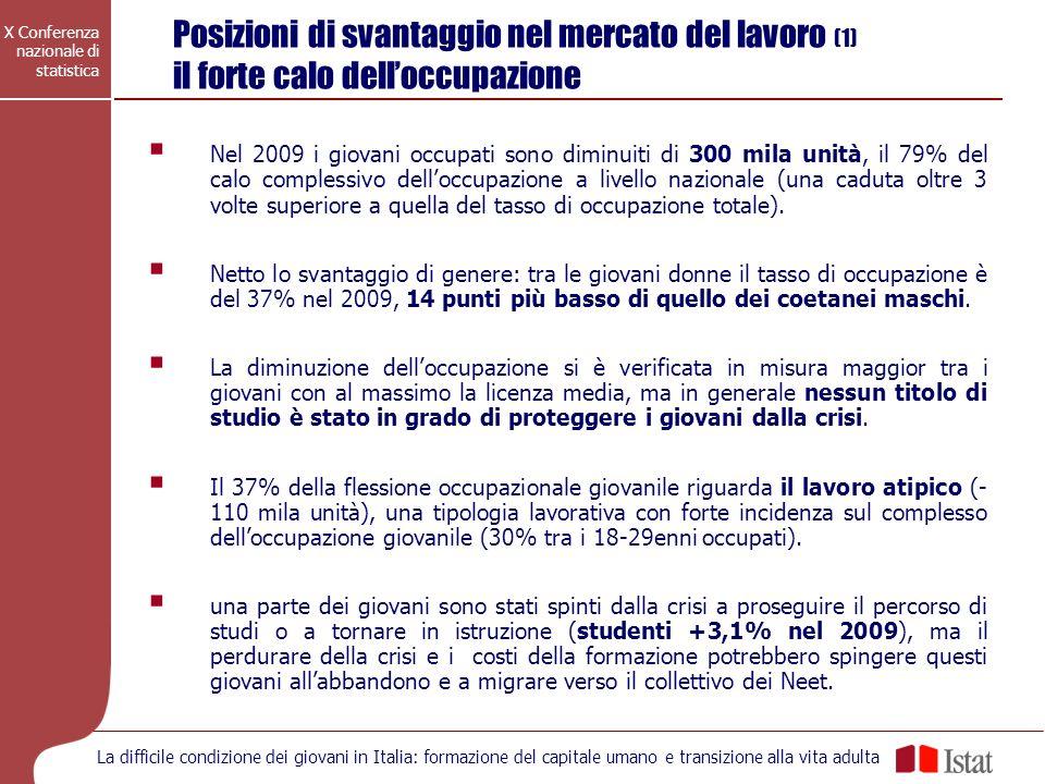 X Conferenza nazionale di statistica La difficile condizione dei giovani in Italia: formazione del capitale umano e transizione alla vita adulta Posiz