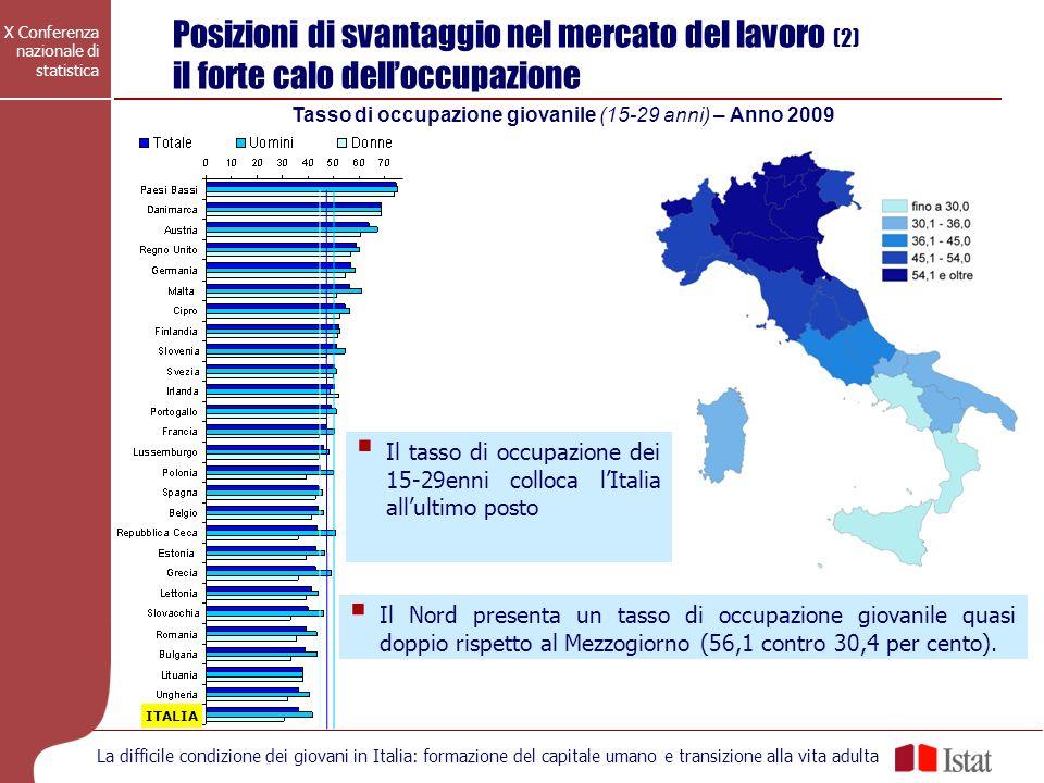 X Conferenza nazionale di statistica La difficile condizione dei giovani in Italia: formazione del capitale umano e transizione alla vita adulta Tasso