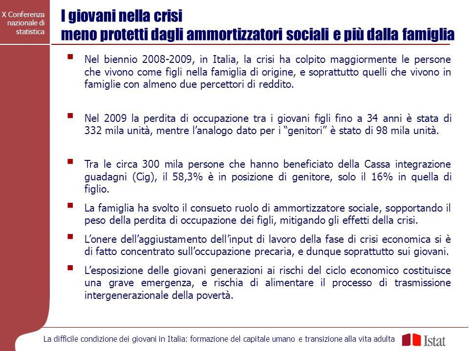 X Conferenza nazionale di statistica La difficile condizione dei giovani in Italia: formazione del capitale umano e transizione alla vita adulta Nel b