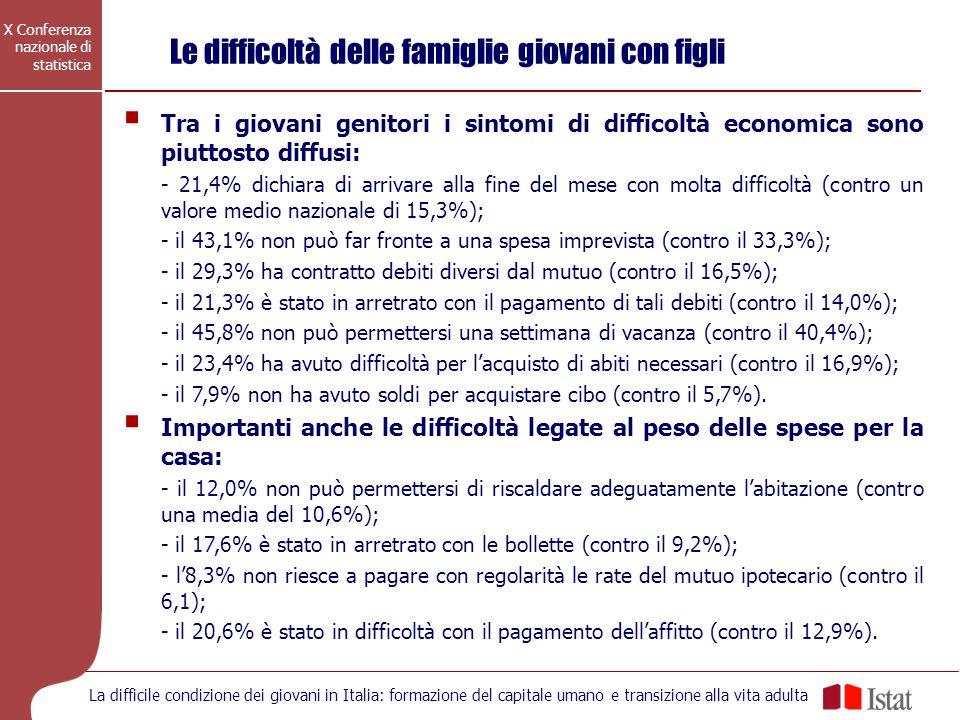X Conferenza nazionale di statistica La difficile condizione dei giovani in Italia: formazione del capitale umano e transizione alla vita adulta Tra i