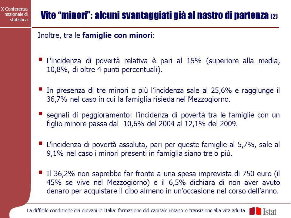 X Conferenza nazionale di statistica La difficile condizione dei giovani in Italia: formazione del capitale umano e transizione alla vita adulta Nel 2009 i ragazzi e i giovani adulti poveri in termini relativi sono 1 milione e 553 mila tra i 18 e i 34 anni (13,7%).