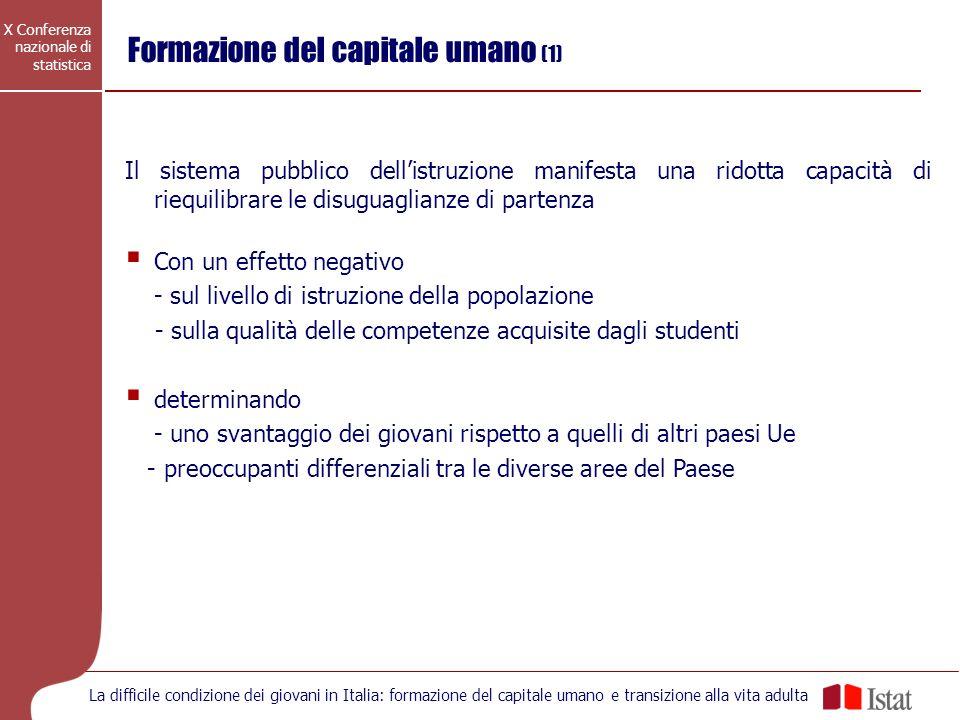 X Conferenza nazionale di statistica La difficile condizione dei giovani in Italia: formazione del capitale umano e transizione alla vita adulta Forma