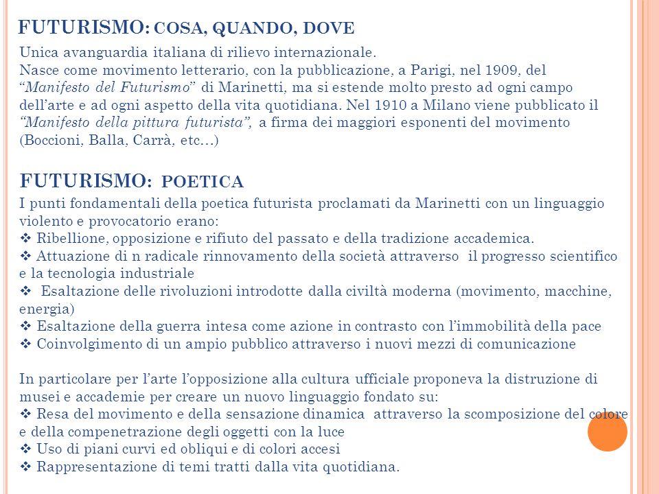 FUTURISMO: COSA, QUANDO, DOVE Unica avanguardia italiana di rilievo internazionale. Nasce come movimento letterario, con la pubblicazione, a Parigi, n