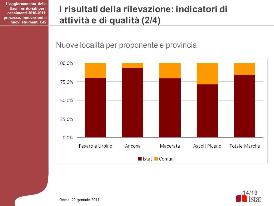 14/19 Roma, 20 gennaio 2011 Laggiornamento delle Basi Territoriali per i censimenti 2010-2011: processo, innovazioni e nuovi strumenti GIS Nuove local