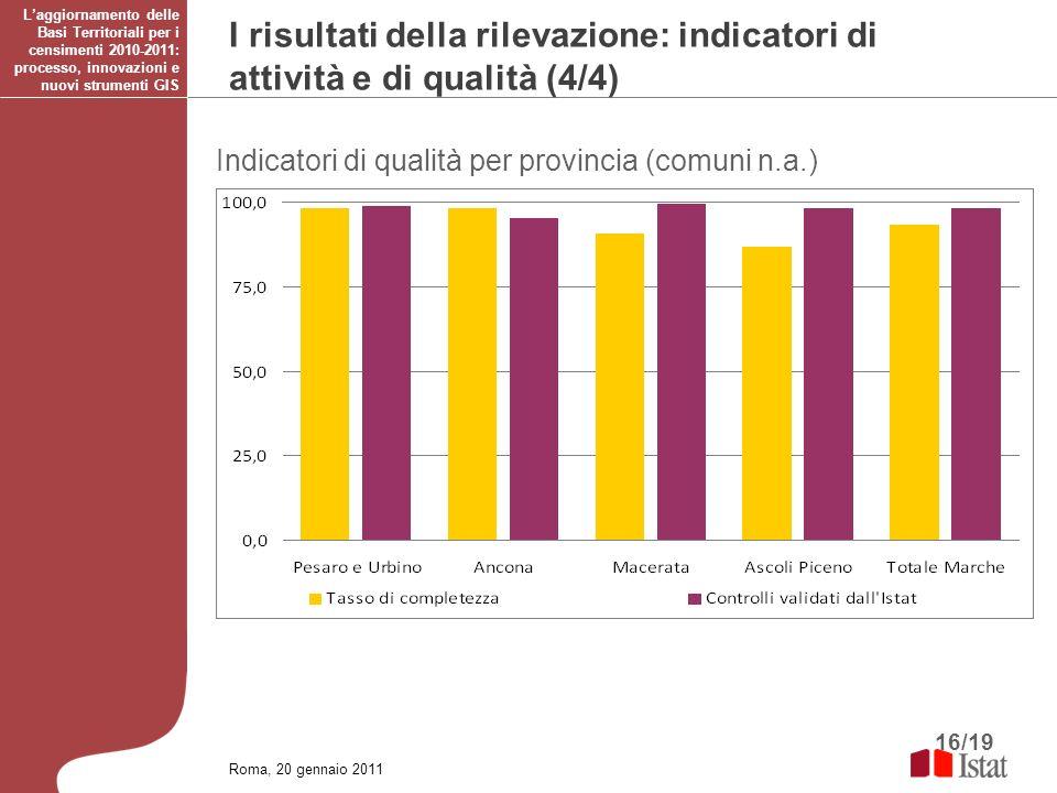 16/19 Roma, 20 gennaio 2011 Laggiornamento delle Basi Territoriali per i censimenti 2010-2011: processo, innovazioni e nuovi strumenti GIS I risultati