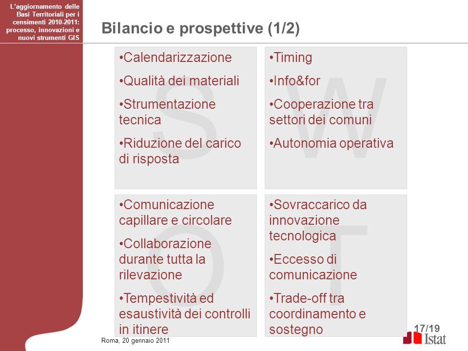 17/19 Bilancio e prospettive (1/2) Roma, 20 gennaio 2011 Laggiornamento delle Basi Territoriali per i censimenti 2010-2011: processo, innovazioni e nu