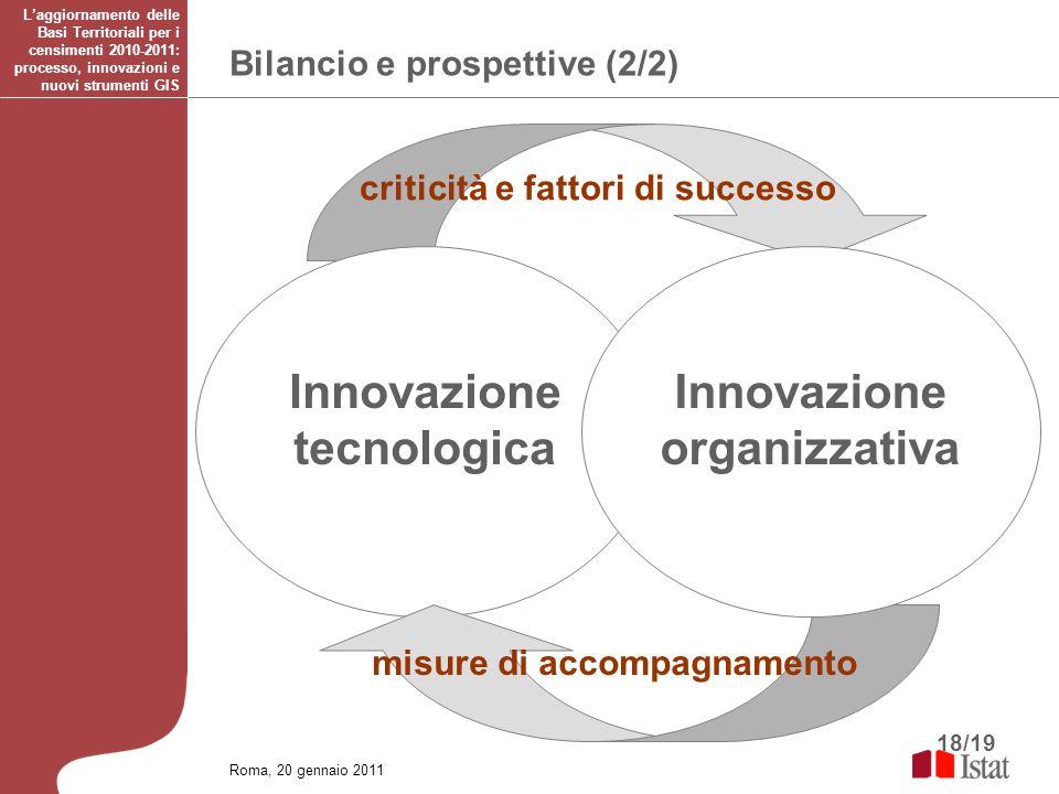 18/19 Bilancio e prospettive (2/2) Roma, 20 gennaio 2011 Laggiornamento delle Basi Territoriali per i censimenti 2010-2011: processo, innovazioni e nu