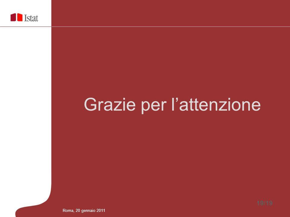 19/19 Grazie per lattenzione Roma, 20 gennaio 2011