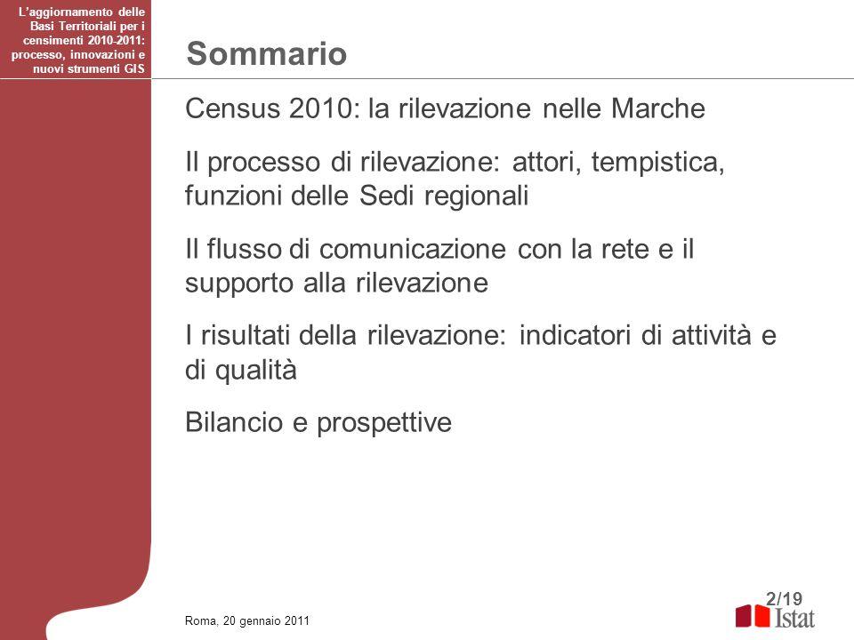 2/19 Sommario Laggiornamento delle Basi Territoriali per i censimenti 2010-2011: processo, innovazioni e nuovi strumenti GIS Census 2010: la rilevazio