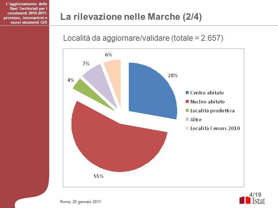 4/19 La rilevazione nelle Marche (2/4) Laggiornamento delle Basi Territoriali per i censimenti 2010-2011: processo, innovazioni e nuovi strumenti GIS