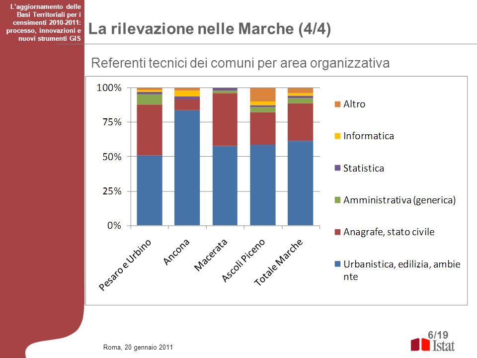 6/19 Roma, 20 gennaio 2011 Laggiornamento delle Basi Territoriali per i censimenti 2010-2011: processo, innovazioni e nuovi strumenti GIS Referenti te