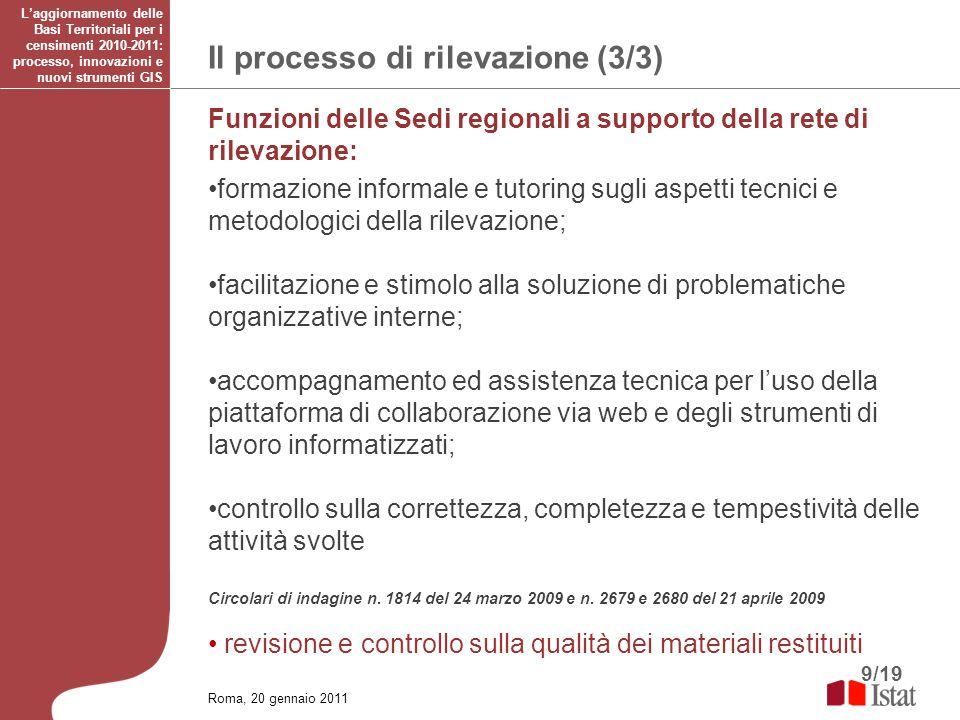 9/19 Il processo di rilevazione (3/3) Laggiornamento delle Basi Territoriali per i censimenti 2010-2011: processo, innovazioni e nuovi strumenti GIS F