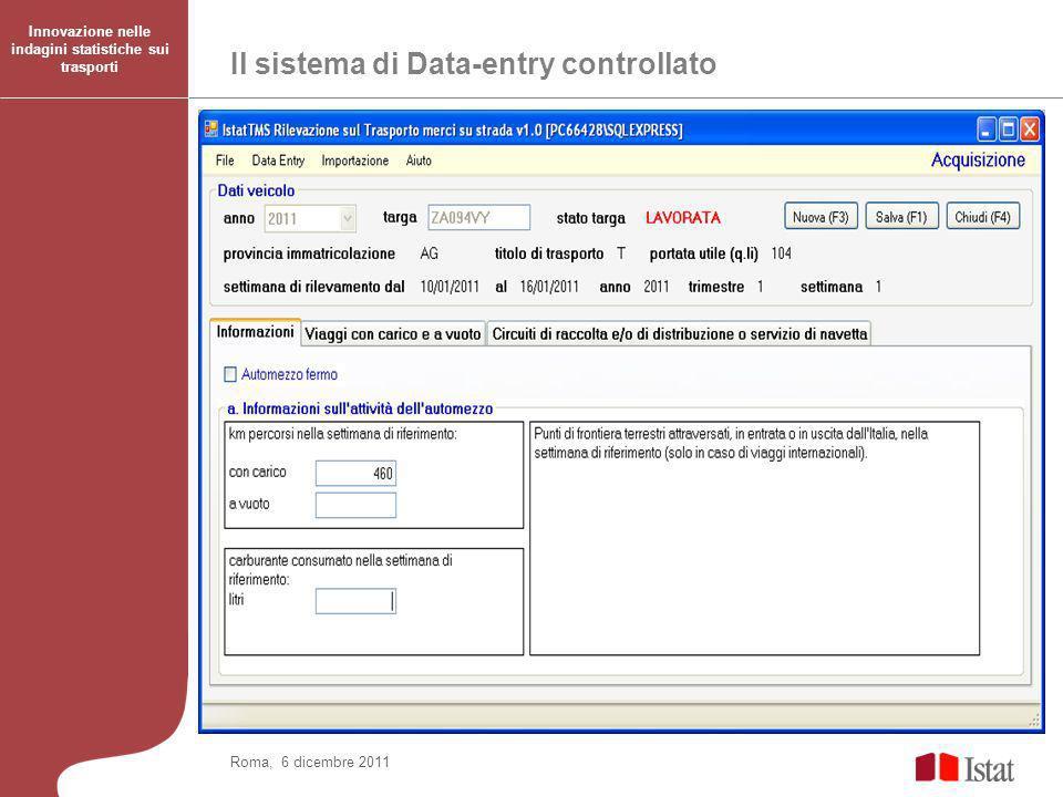 Il sistema di Data-entry controllato Innovazione nelle indagini statistiche sui trasporti Roma, 6 dicembre 2011