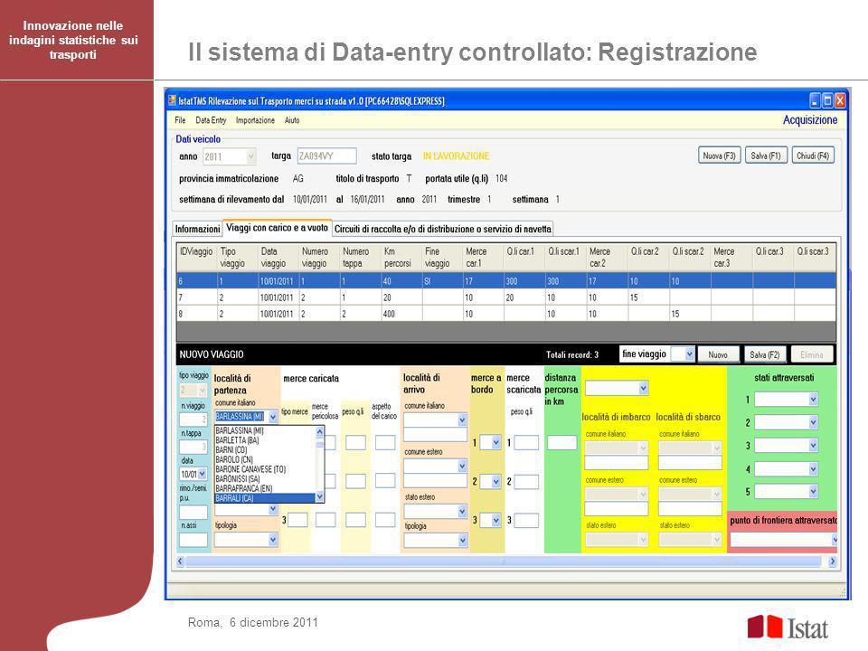 Il sistema di Data-entry controllato: Registrazione Innovazione nelle indagini statistiche sui trasporti Roma, 6 dicembre 2011