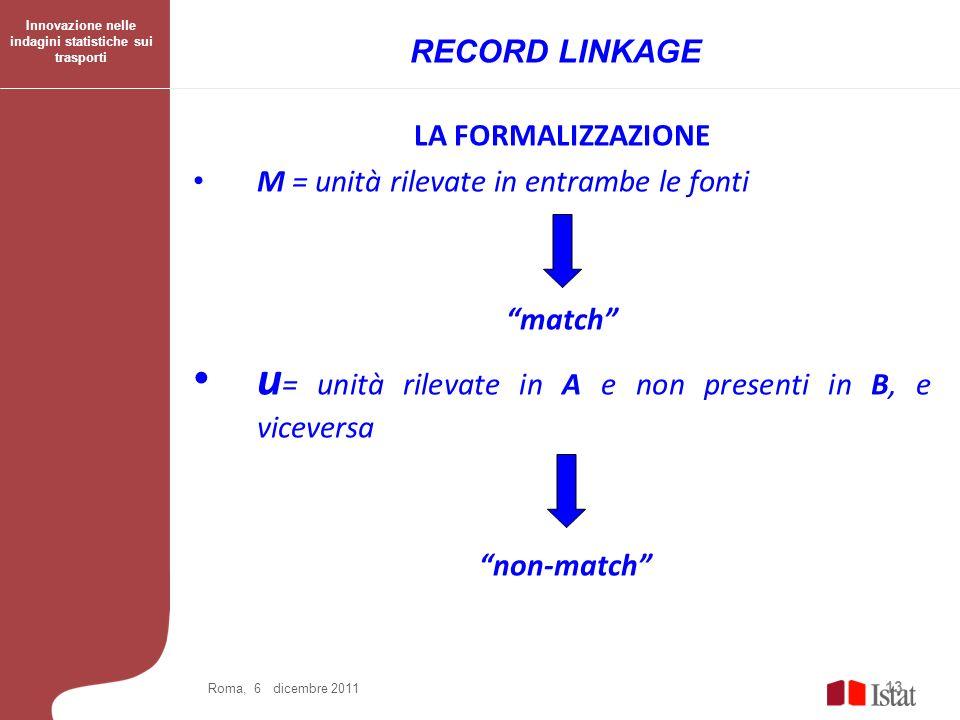 LA FORMALIZZAZIONE M = unità rilevate in entrambe le fonti match u = unità rilevate in A e non presenti in B, e viceversa non-match 13 Roma, 6 dicembr