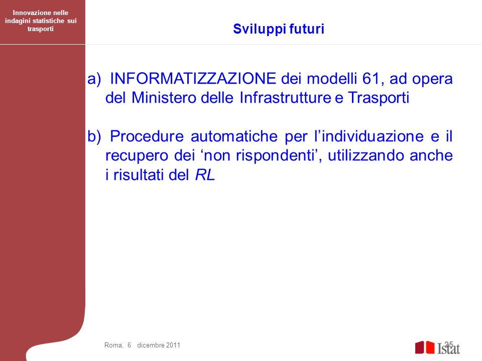 25 Roma, 6 dicembre 2011 a) INFORMATIZZAZIONE dei modelli 61, ad opera del Ministero delle Infrastrutture e Trasporti b) Procedure automatiche per lin