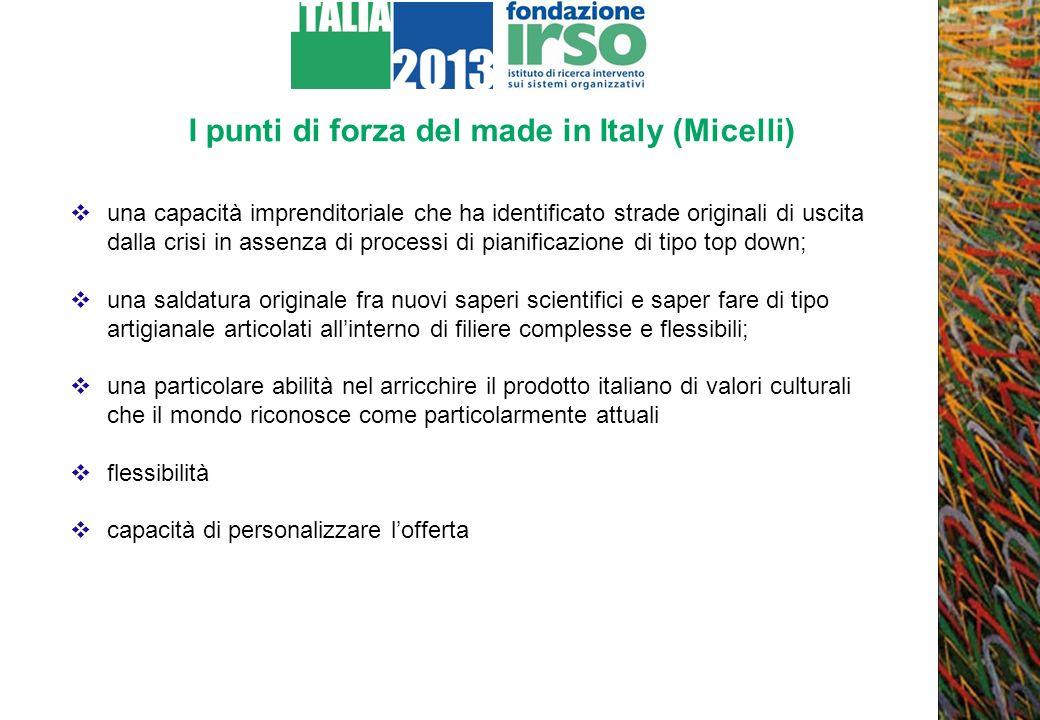 I punti di forza del made in Italy (Micelli) una capacità imprenditoriale che ha identificato strade originali di uscita dalla crisi in assenza di pro