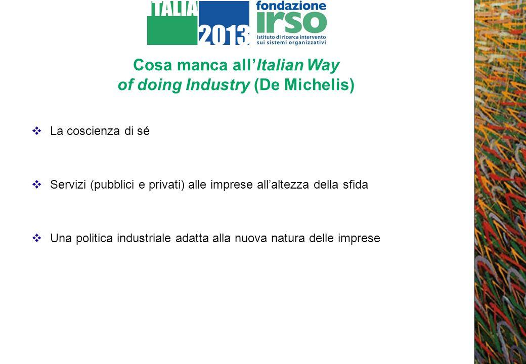 Cosa manca allItalian Way of doing Industry (De Michelis) La coscienza di sé Servizi (pubblici e privati) alle imprese allaltezza della sfida Una poli