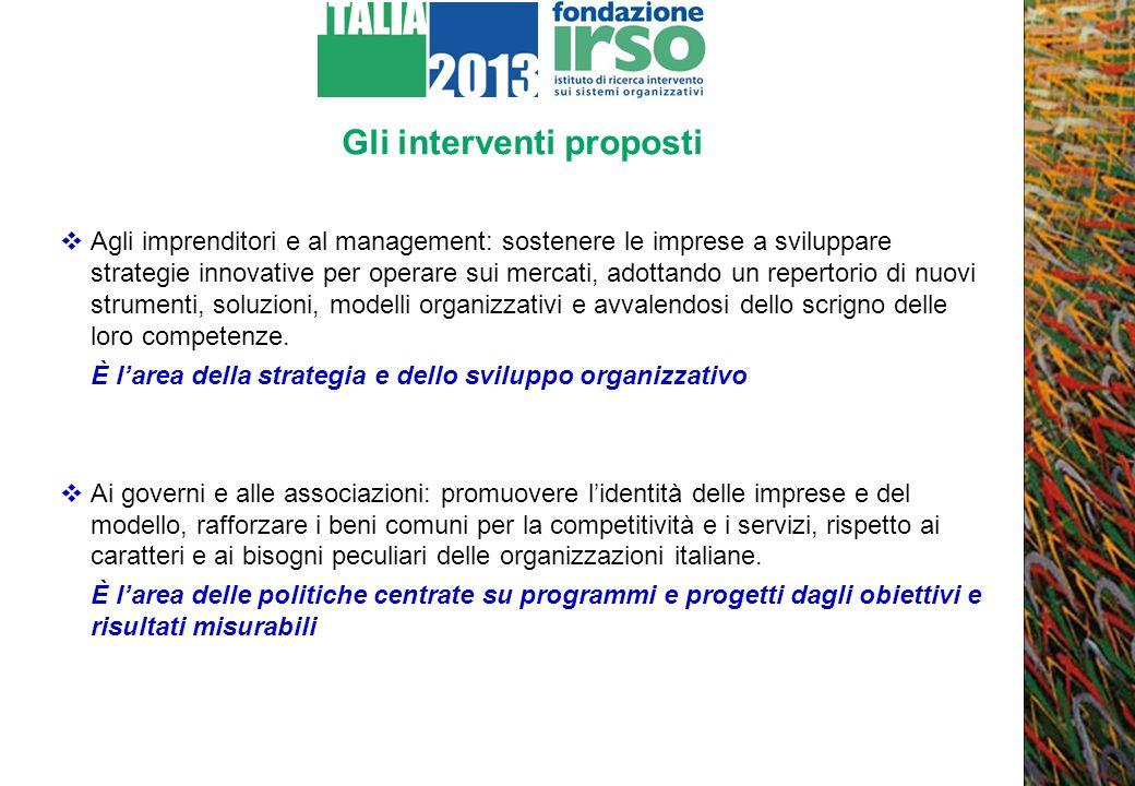 Gli interventi proposti Agli imprenditori e al management: sostenere le imprese a sviluppare strategie innovative per operare sui mercati, adottando u