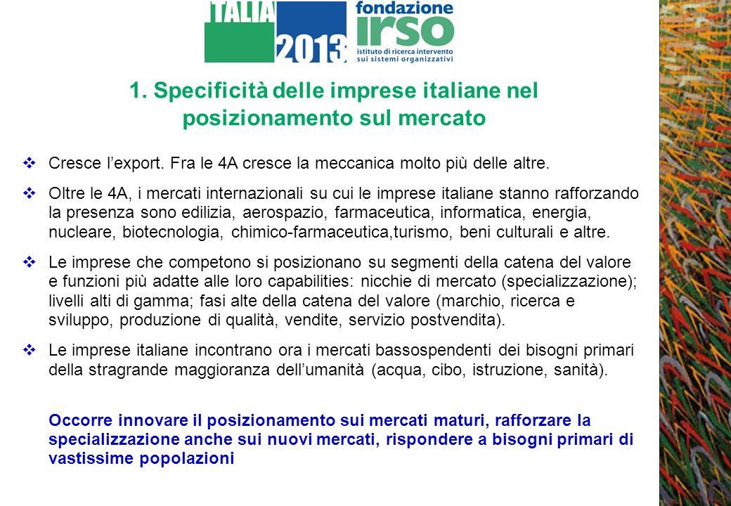 1. Specificità delle imprese italiane nel posizionamento sul mercato Cresce lexport. Fra le 4A cresce la meccanica molto più delle altre. Oltre le 4A,