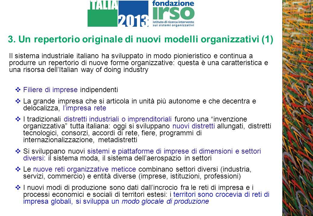 3. Un repertorio originale di nuovi modelli organizzativi (1) Il sistema industriale italiano ha sviluppato in modo pionieristico e continua a produrr