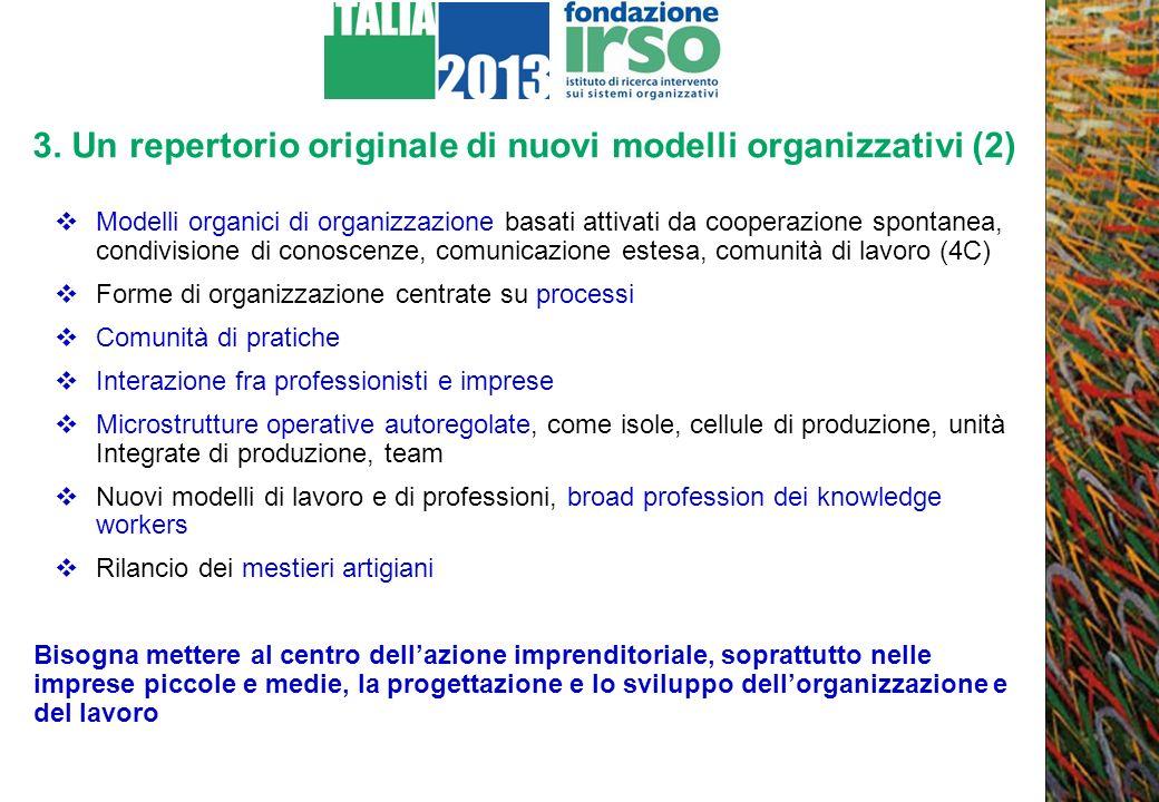 3. Un repertorio originale di nuovi modelli organizzativi (2) Modelli organici di organizzazione basati attivati da cooperazione spontanea, condivisio