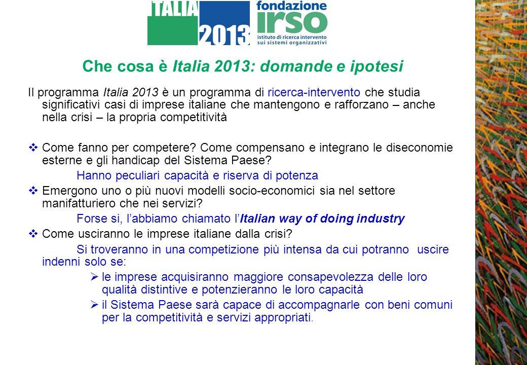Che cosa è Italia 2013: domande e ipotesi Il programma Italia 2013 è un programma di ricerca-intervento che studia significativi casi di imprese itali