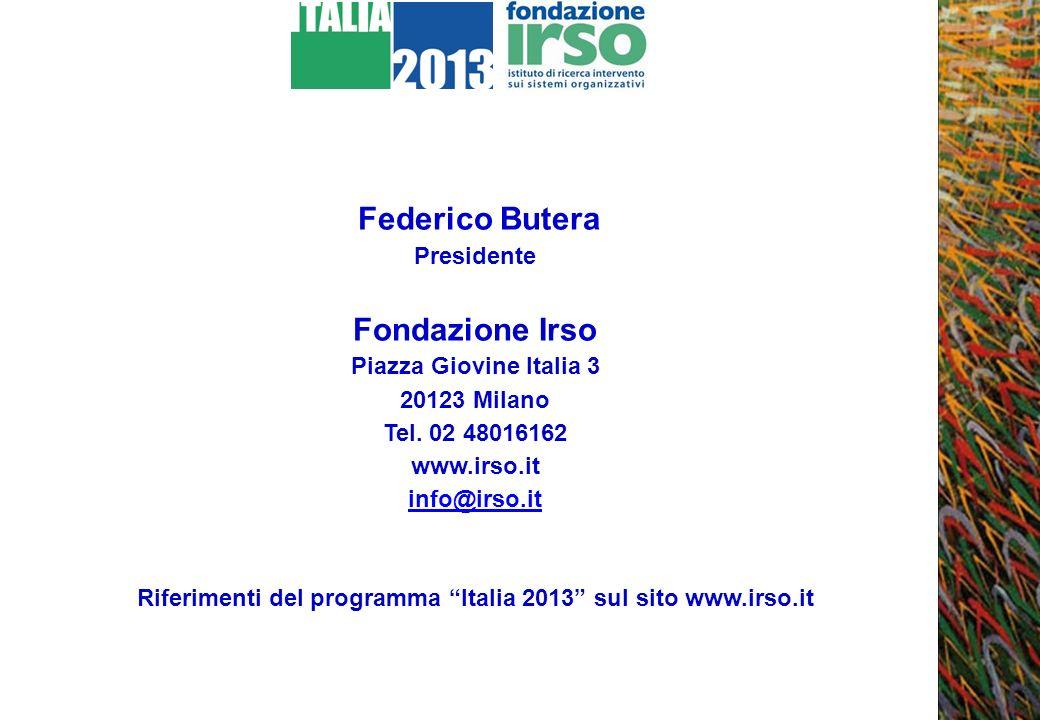 Federico Butera Presidente Fondazione Irso Piazza Giovine Italia 3 20123 Milano Tel. 02 48016162 www.irso.it info@irso.it Riferimenti del programma It