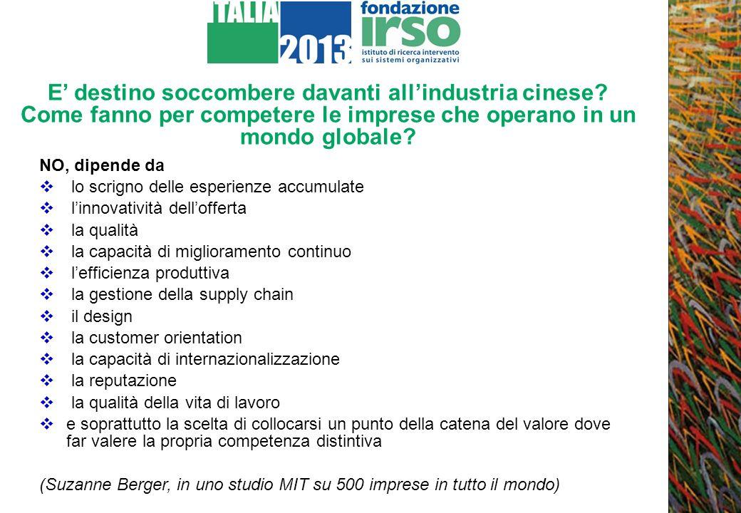 Cosa manca allItalian Way of doing Industry (De Michelis) La coscienza di sé Servizi (pubblici e privati) alle imprese allaltezza della sfida Una politica industriale adatta alla nuova natura delle imprese