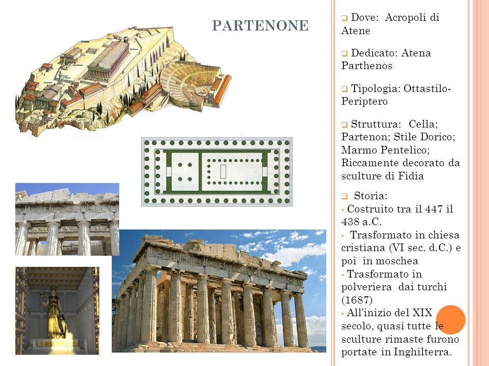 Dove: Acropoli di Atene Dedicato: Atena Parthenos Tipologia: Ottastilo- Periptero Struttura: Cella; Partenon; Stile Dorico; Marmo Pentelico; Riccament