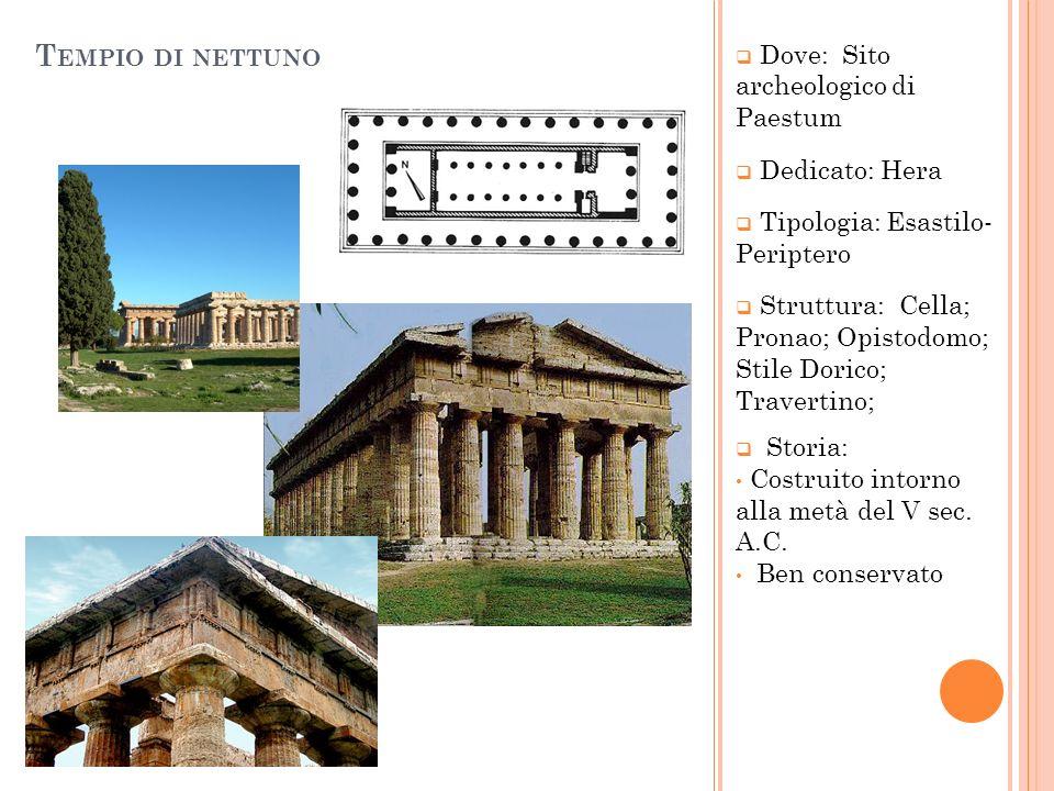 T EMPIO DI NETTUNO Dove: Sito archeologico di Paestum Dedicato: Hera Tipologia: Esastilo- Periptero Struttura: Cella; Pronao; Opistodomo; Stile Dorico