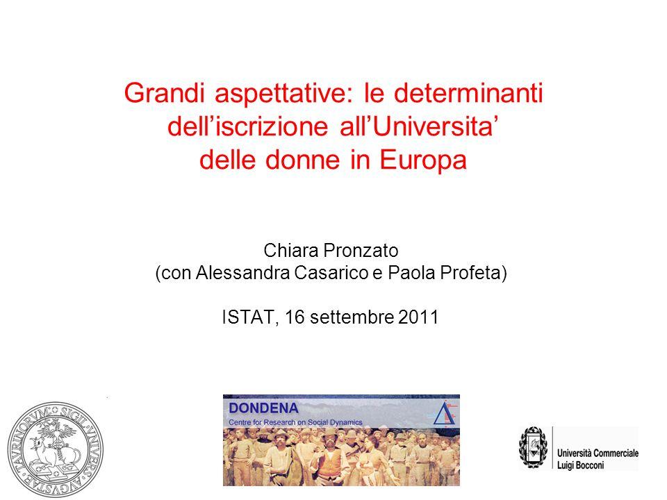 Grandi aspettative: le determinanti delliscrizione allUniversita delle donne in Europa Chiara Pronzato (con Alessandra Casarico e Paola Profeta) ISTAT, 16 settembre 2011