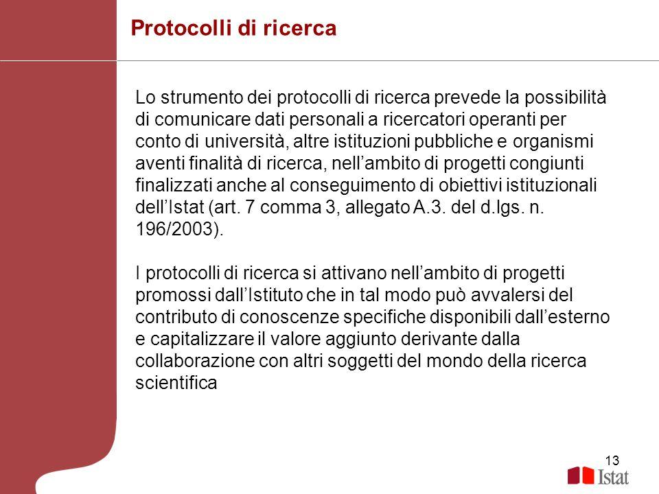 13 Protocolli di ricerca Lo strumento dei protocolli di ricerca prevede la possibilità di comunicare dati personali a ricercatori operanti per conto d