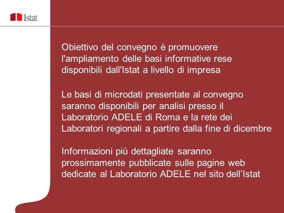 Obiettivo del convegno è promuovere l'ampliamento delle basi informative rese disponibili dall'Istat a livello di impresa Le basi di microdati present