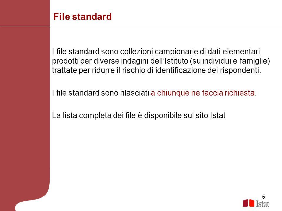 5 File standard I file standard sono collezioni campionarie di dati elementari prodotti per diverse indagini dellIstituto (su individui e famiglie) tr