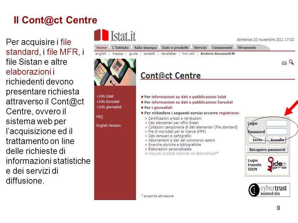9 Il Cont@ct Centre Per acquisire i file standard, i file MFR, i file Sistan e altre elaborazioni i richiedenti devono presentare richiesta attraverso