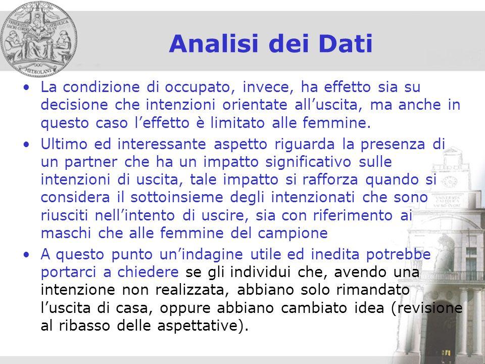 Analisi dei Dati La condizione di occupato, invece, ha effetto sia su decisione che intenzioni orientate alluscita, ma anche in questo caso leffetto è limitato alle femmine.